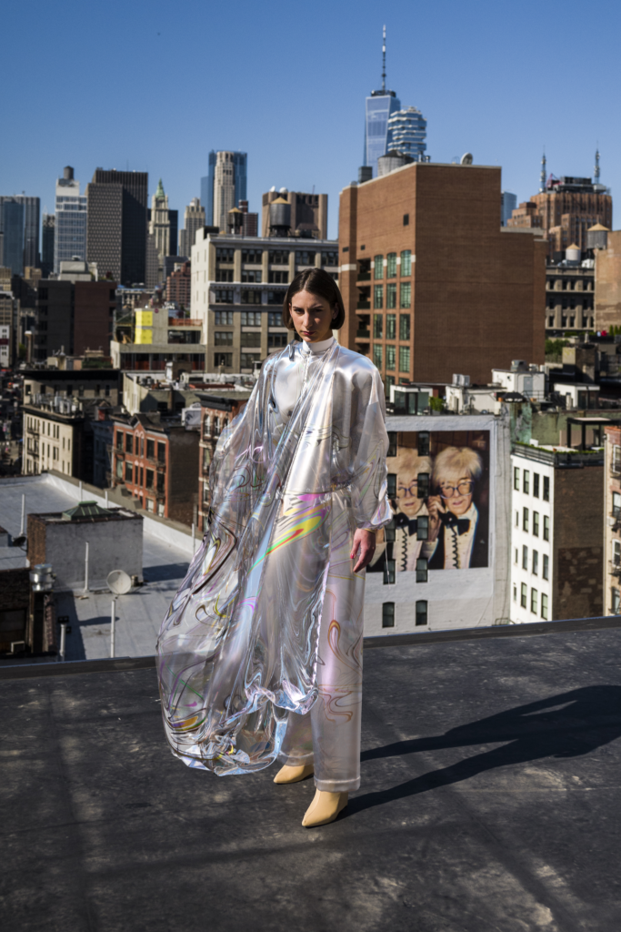 A woman on a rooftop wearing 'Iridescence' by The Fabricant, 2019